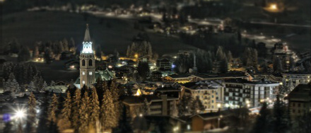 Cortina d'Ampezzo by night tilt-shift